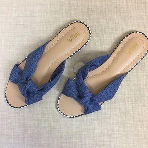 MIA Blue Twist Knot Flat Sandals Size 9